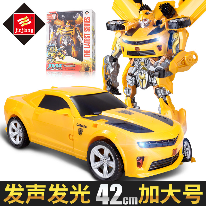 Deformation toys King Kong 5 Bumblebee large fire police car sound and  light deformation car robot children's toys