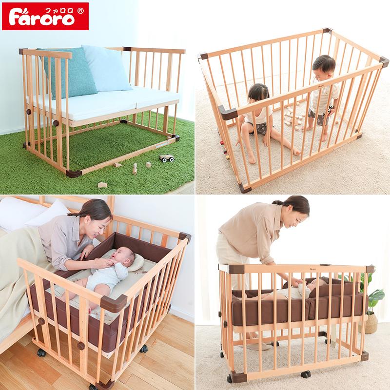 Faroro кровать для младенца новорожденных дерево без краски континентальный ребенок кровать многофункциональный игра кровать япония