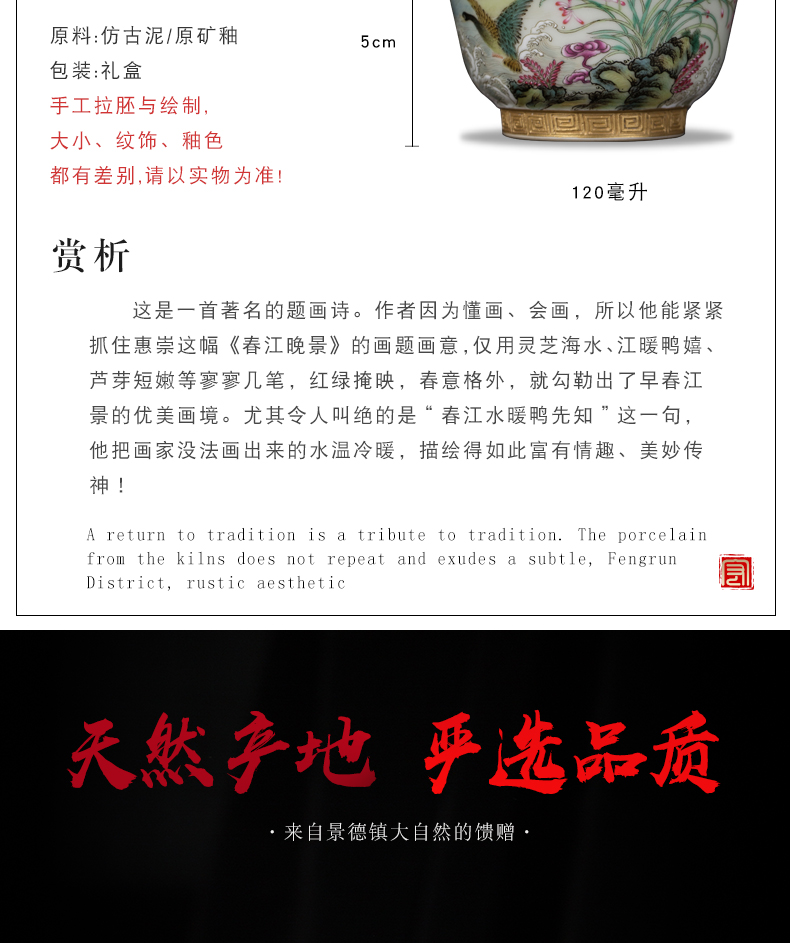 The Master single CPU kung fu tea tea cups of jingdezhen ceramic paint by hand carving pastel colored enamel bowl