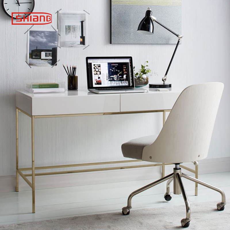 Nordic modern minimalist gold stainless steel white paint study desk  bedroom computer desk office desk