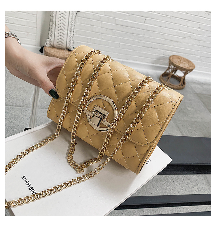 Fashion Small Square Bag Handbag 2019 High-quality PU Leather Chain Mobile Phone Shoulder bags Green one size 21