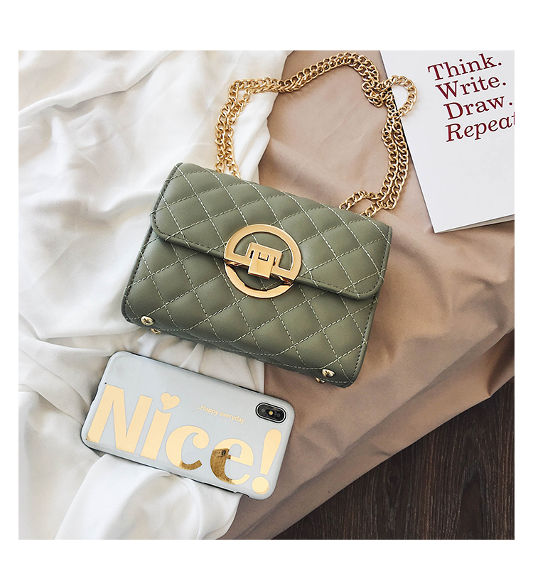 Fashion Small Square Bag Handbag 2019 High-quality PU Leather Chain Mobile Phone Shoulder bags Green one size 49