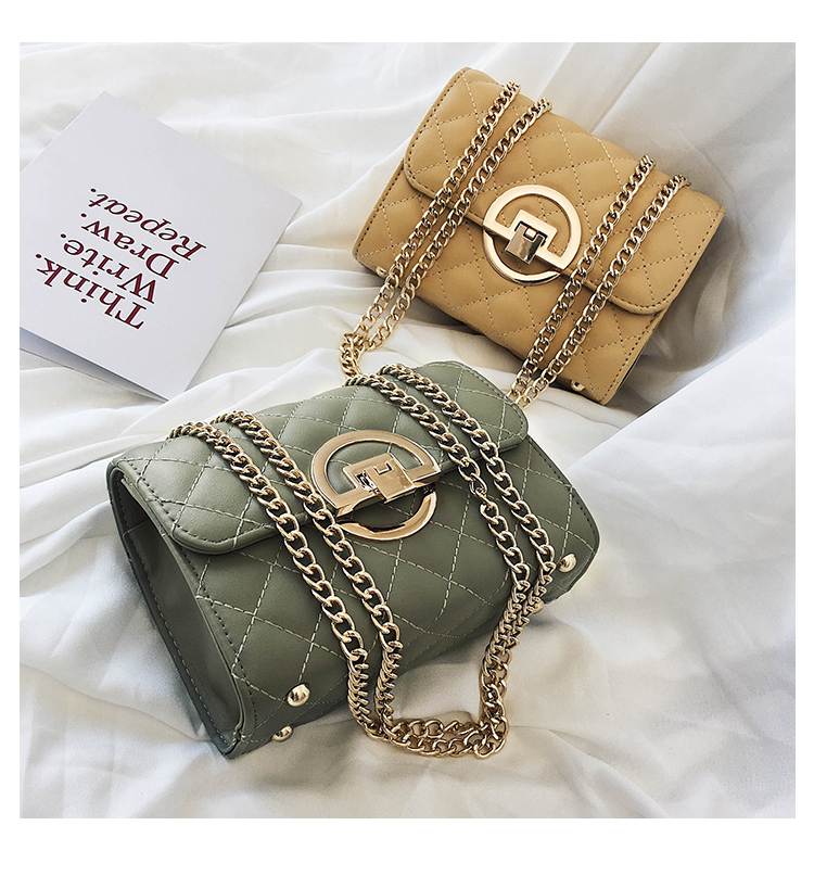 Fashion Small Square Bag Handbag 2019 High-quality PU Leather Chain Mobile Phone Shoulder bags Green one size 36