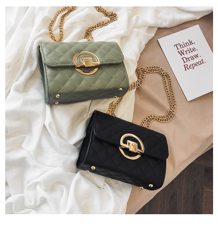 Fashion Small Square Bag Handbag 2019 High-quality PU Leather Chain Mobile Phone Shoulder bags Green one size 39