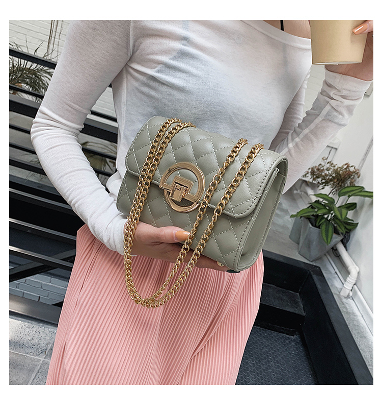 Fashion Small Square Bag Handbag 2019 High-quality PU Leather Chain Mobile Phone Shoulder bags Green one size 6