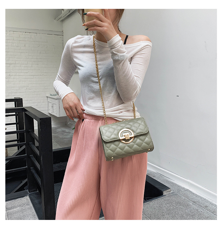 Fashion Small Square Bag Handbag 2019 High-quality PU Leather Chain Mobile Phone Shoulder bags Green one size 7