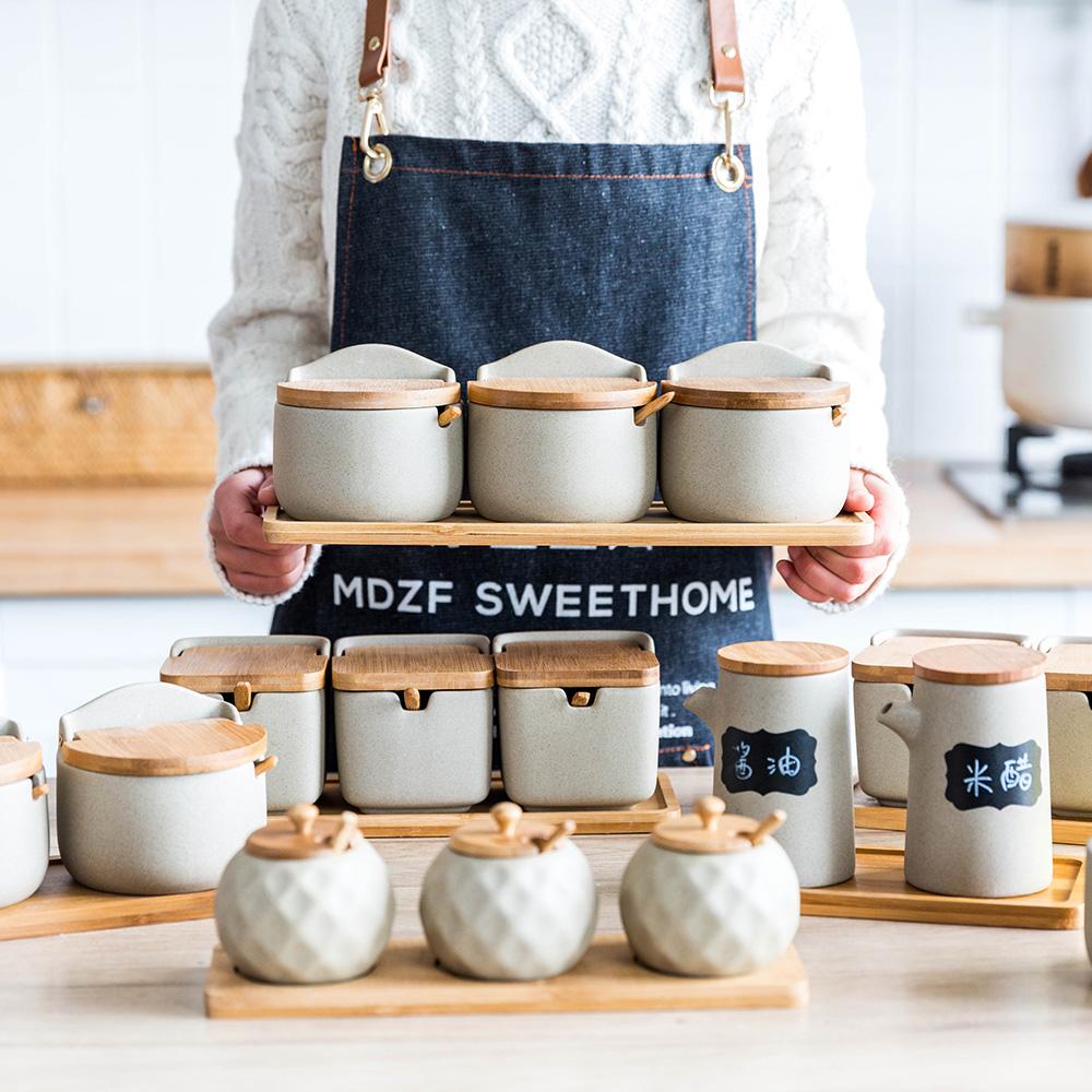 摩登主妇 日式厨房调味罐调料盒套装家用陶瓷调料罐盐罐调味料瓶