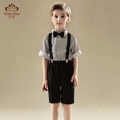 男童礼服套装婚礼花童背带裤六一夏