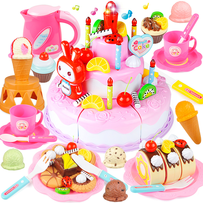 Children Play House Cut Cake Kitchen Baby Fruit 6 Music Birthday 4 Toy Girl 2 Set 3 Years Old