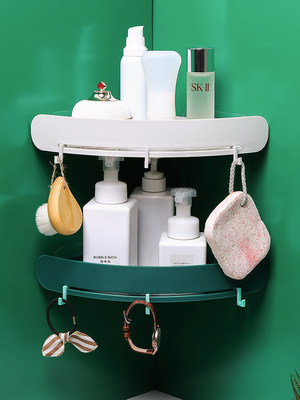Toilet bathroom triangle shelf wall hanging toilet toilet vanity free punching bathroom storage rack plastic