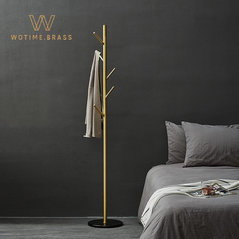 wotime北歐黃銅大理石落地衣帽架臥室衣服架子現代簡約立式掛衣架