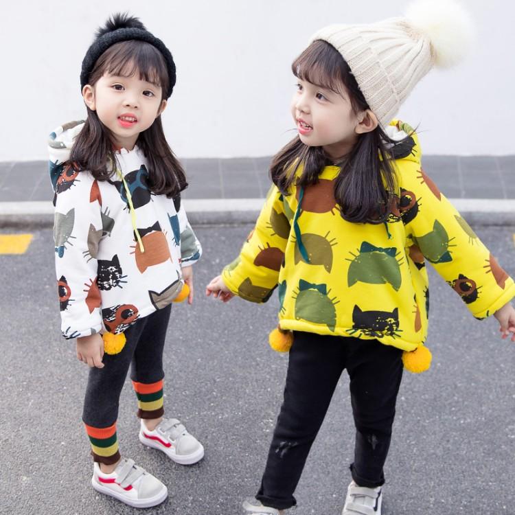 衣服秋冬装宝宝韩版加绒卫衣0-3岁婴幼儿印花上衣2男女童外套洋气
