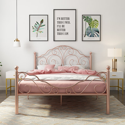 European style iron bed simple modern girl iron bed golden princess bed girl net red ins style single double bed