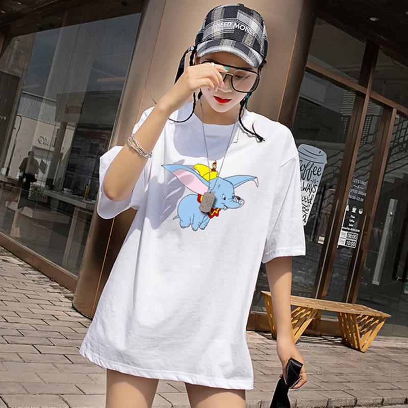 短袖女小飞象cec2019新款明星同款粉色T恤女短袖中长款宽松圆领学_领取50元淘宝优惠券