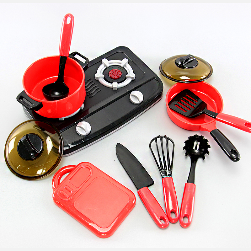RED AND BLACK SIMULATED KITCHEN SET