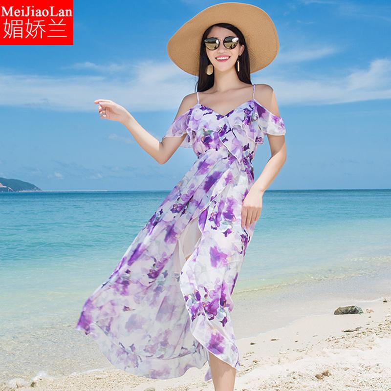 微胖连衣裙胖mm波西米亚长裙修身显瘦大码印花碎花雪纺沙滩连衣裙