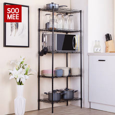 Kitchen rack floor multi-layer storage rack household stainless steel supplies pot and bowl rack spice rack storage rack shelf