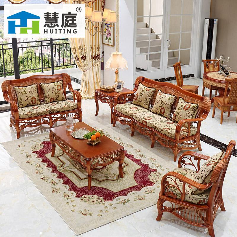 Действительно виноградная лоза диван гостиная пять частей сочетание плетеный стул дерево виноградная лоза бамбук диван три виноградная лоза искусство небольшой квартира ротанг диван