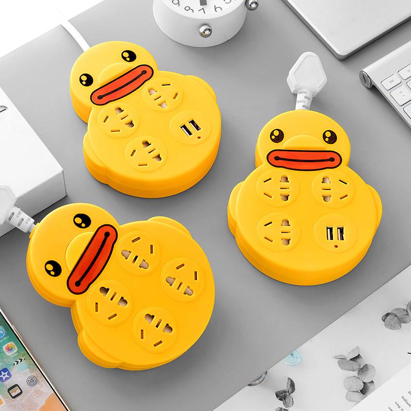 带线插座安全门卡通黄小鸭创意排插家用多功能USB宿舍插座转换器_领取30元淘宝优惠券