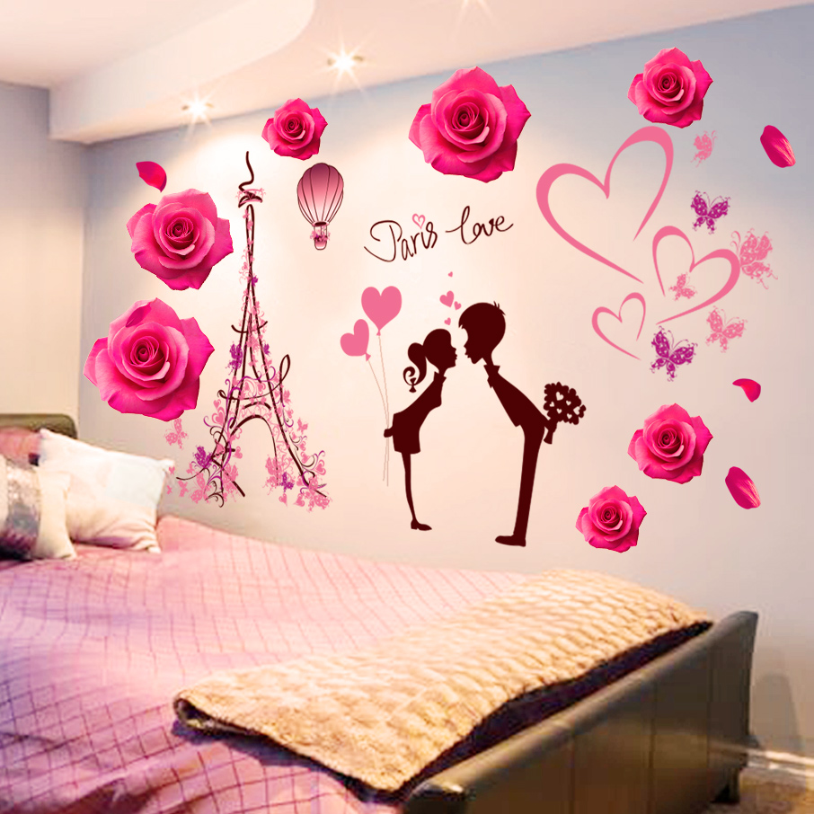 c518735143d 3D wall stickers stickers girl heart layout bedroom warm room wall wall  decorations creative self-adhesive