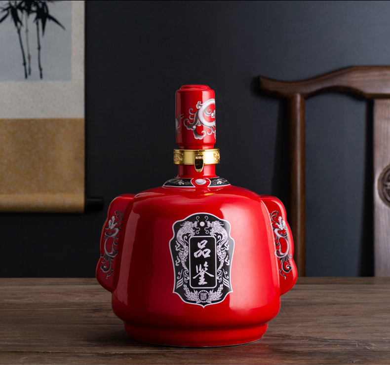 Jingdezhen ceramic bottle is empty bottles of Chinese style of the ancients hip 5 jins of household seal wine wine ark of creative furnishing articles