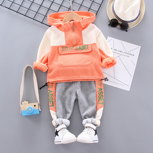 Girls autumn sports suit Korean version 2019 new small children's tide clothes male baby stitching hooded sweater two pieces