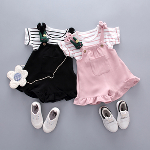Girls summer suit 2019 new children's clothing foreign Korean version of the short-sleeved T-shirt princess bib two sets 1-3 years old
