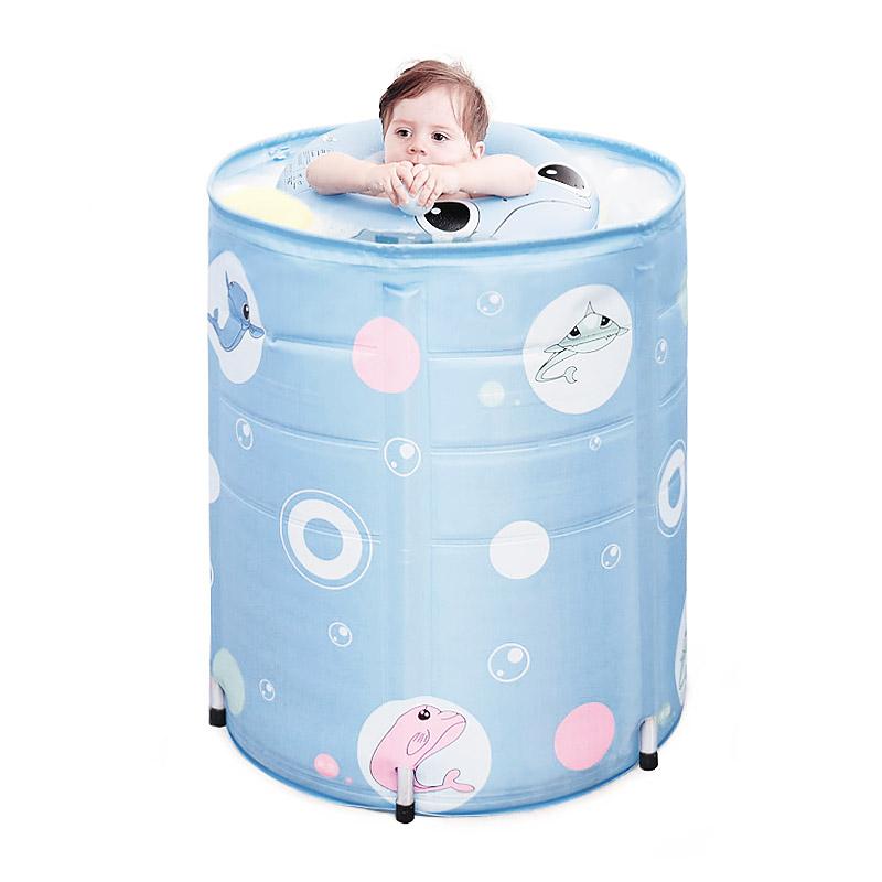 宝宝鱼婴儿游泳池家用宝宝新生儿童洗澡桶保温夹棉支架游泳桶加厚