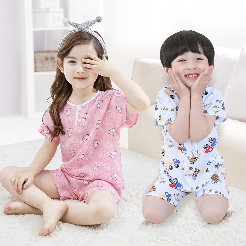 儿童短袖套装男孩夏季男童女童绵绸家居服棉绸睡衣宝宝人造棉薄款