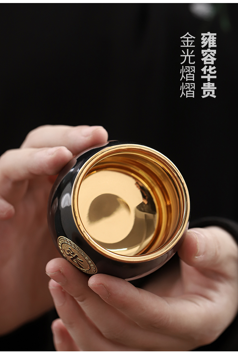 The Master of fine gold cup cup one cup of ceramic cup support private household kung fu tea custom lettering