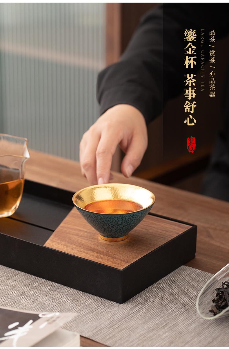 Gold hat cup tea master cup of turtle grain cup tea sample tea cup Gold jinzhan cup kung fu tea cups ceramic bowl