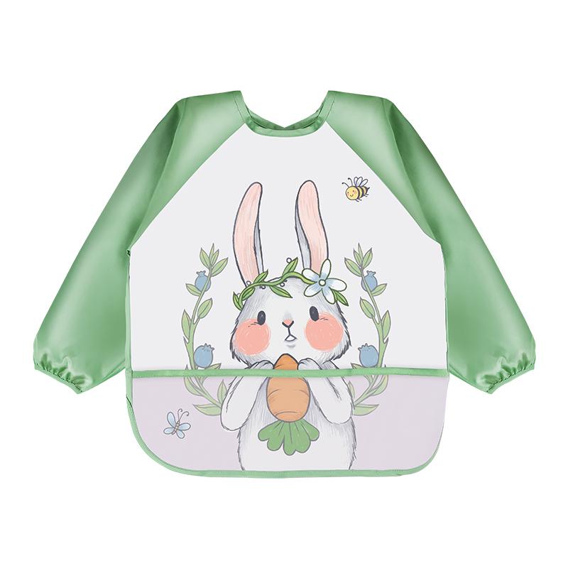宝宝吃饭罩衣防水防脏婴儿围兜秋冬长袖反穿衣儿童画画护衣小围裙