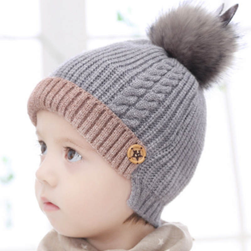 Children s hat autumn and winter 1-2-3 years old baby hat ear warm Korean  children knitted boys and girls wool hat winter 8f4fac7a6c4