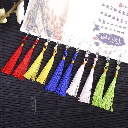 包邮民族风复古中国结长款流苏耳环新娘表演舞台配旗袍耳饰耳夹坠