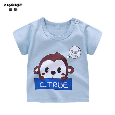 Summer baby short-sleeved T-shirt children's clothing cotton baby half-sleeved boy top children's clothing girl summer dress 3