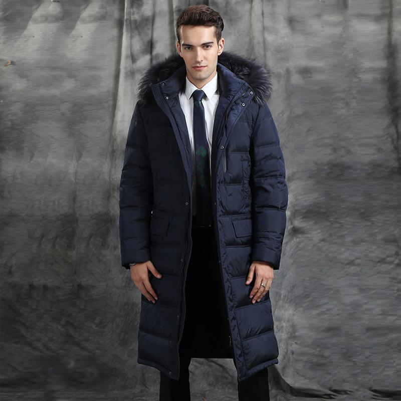 男羽絨服中長款過膝加長貉子毛領冬白鵝絨服男士加厚外套大衣修身