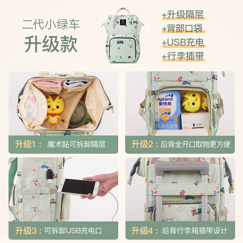THE SECOND GENERATION UPGRADE CARTOON CAR WITH COMPARTMENT + USB + BACK LUGGAGE BOX (LARGE)