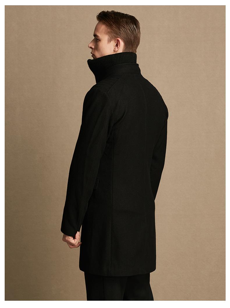 [Giải phóng] Người đàn ông của JDV nam màu đen khâu cổ áo len lông áo WCO5059BLK