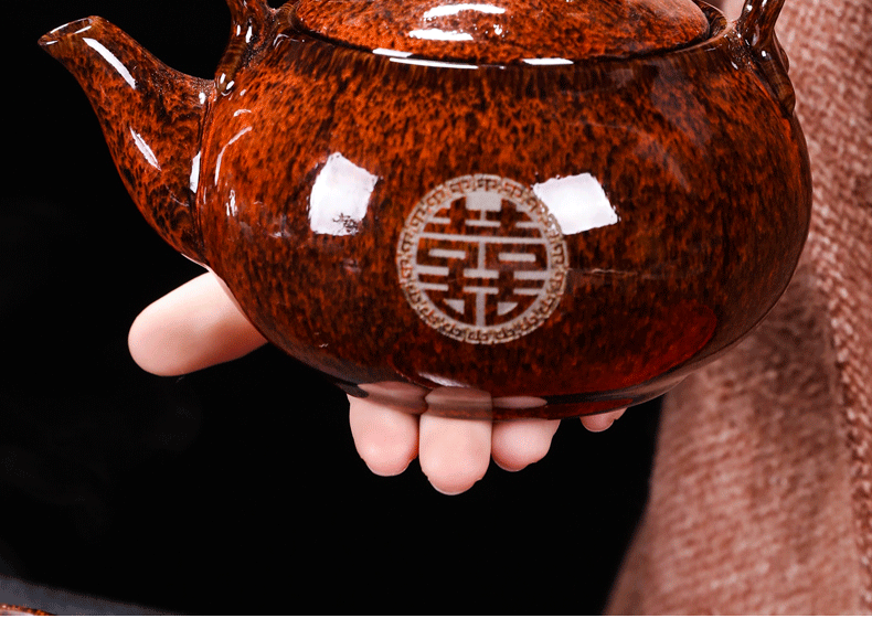 Wedding tea suit household of Chinese style Wedding package ceramic big red tea cup teapot tea tray teapot