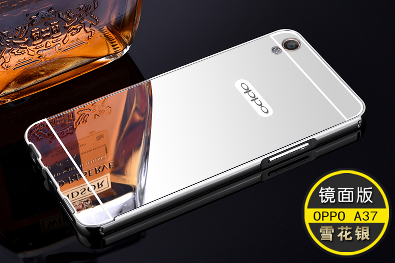 newest 7c6a0 d7554 OPPO A37 A37M Mirror Metal Frame Bumper Case Cover Casing + Gift