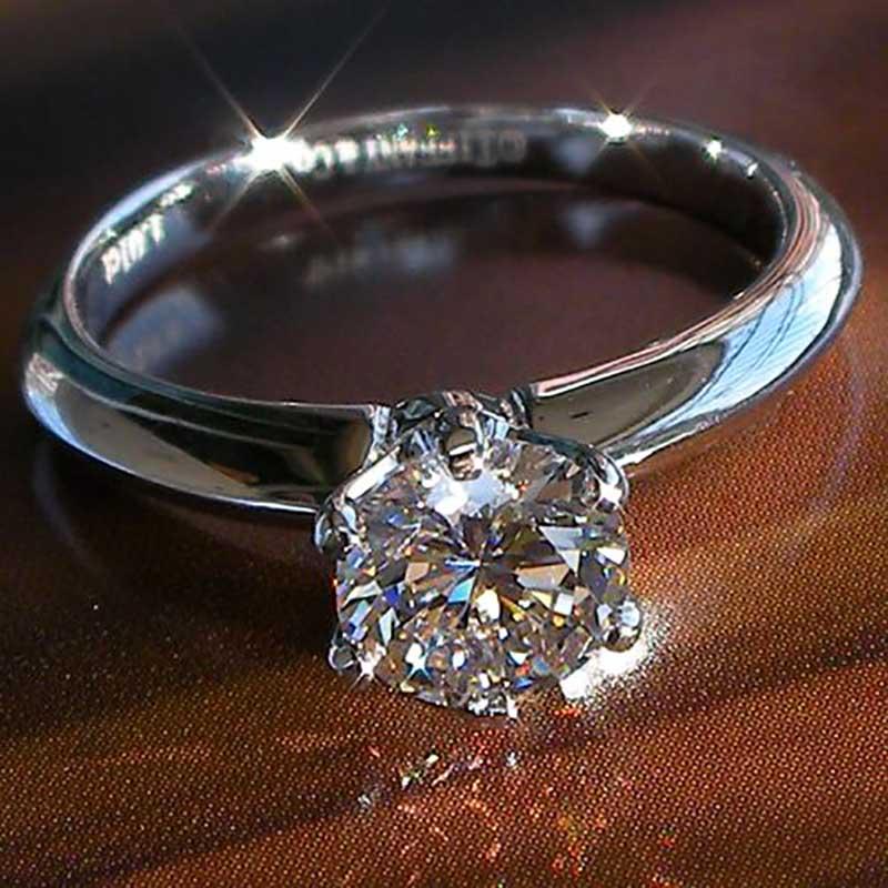 维蒂伦纯银戒指 女情侣对戒指1克拉仿真 女戒指婚戒指百搭
