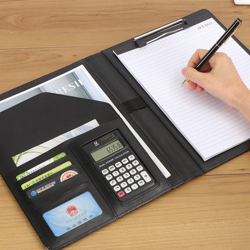 文件夹板夹a4多功能合同夹垫板夹板带计算器a5文件夹写字夹经理夹销讲夹量房本销售资料谈单夹谈单本商务皮质