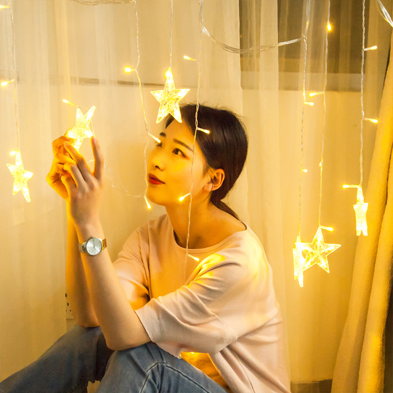 LED small lantern flashing lamp string lamp starry star lamp ins teen heart bedroom romantic hotel homestay room decoration