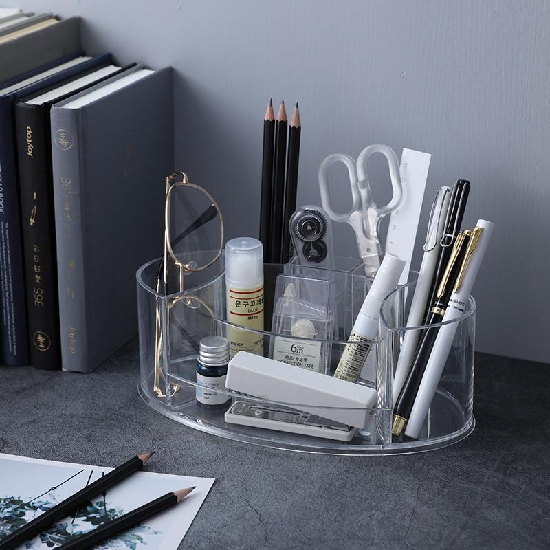 透明笔筒北欧创意压克力多功能化妆刷桶寝室桌面收纳盒学生可爱详细照片