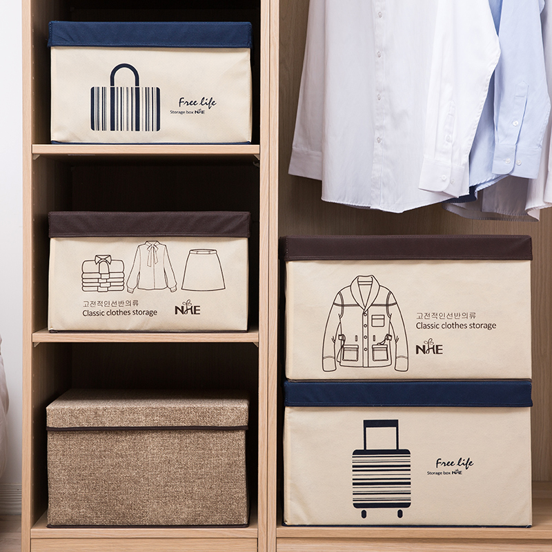 Fabric Storage Box Non Woven Clothes Storage Box Folding Lid Storage Box  Clothing Storage Box Trumpet