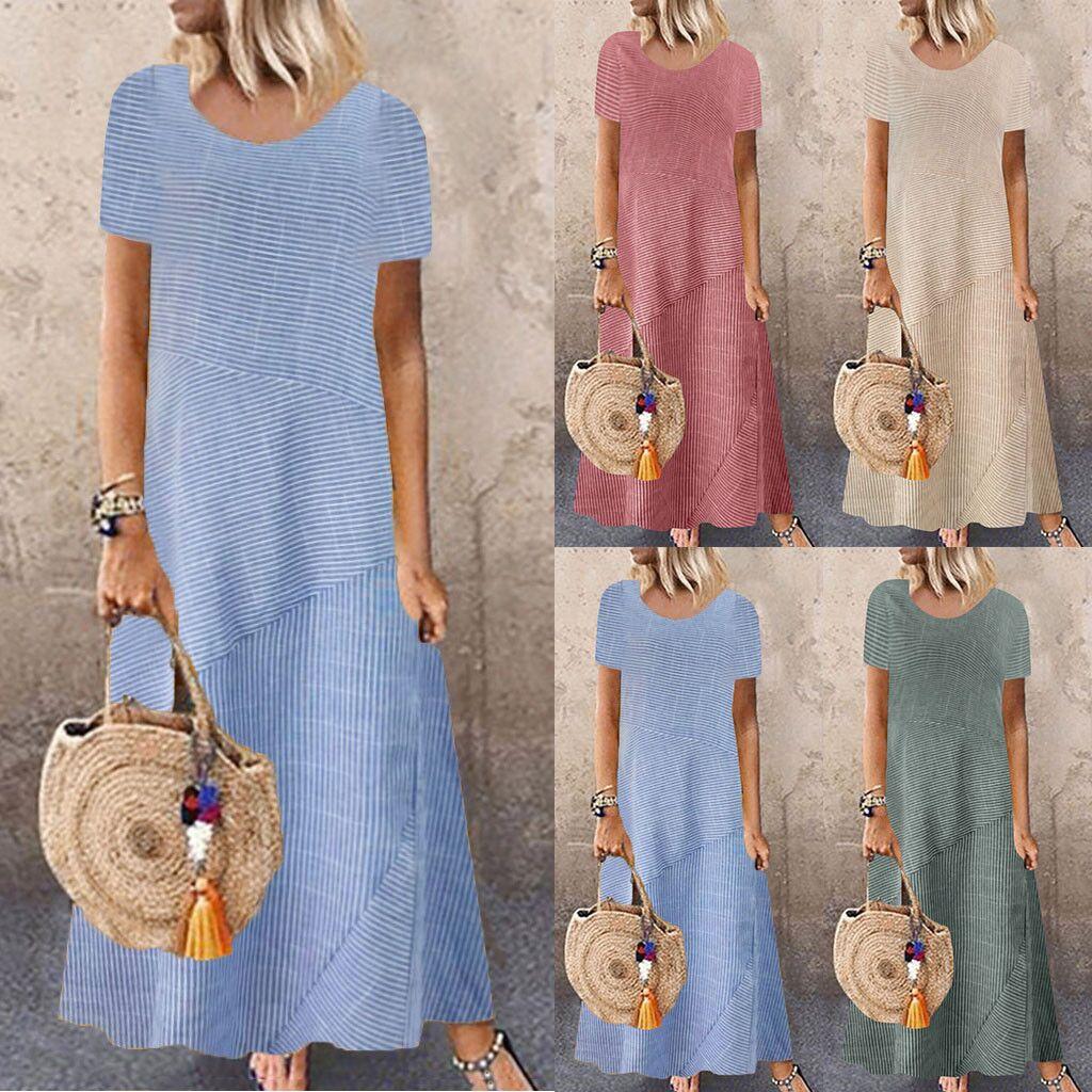 fashion striped round neck short sleeve plus size dress NSYF2157