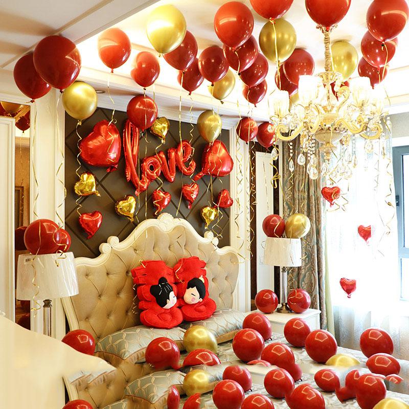 网红女方婚庆结婚新房婚房卧室婚礼喜字装饰场景布置套装气球用品