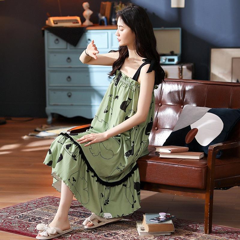 艾尚实拍可带胸垫睡裙女夏季吊带睡衣纯棉长款过膝露背家居服
