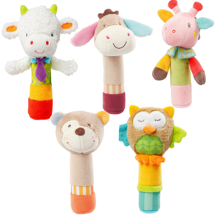 Baby hand rattle to appease hand grasping animal BB stick baby baby hand puppet toy newborn grip toy