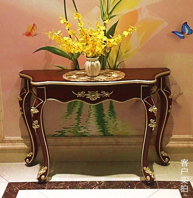半圆后背靠墙欧式端景柜美式桌子走廊墙边柜餐边桌条几沙发台玄关